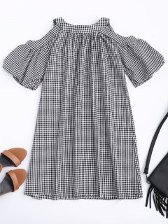 Cold Shoulder Puff Sleeve Checked Dress - Checked Xl