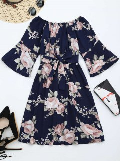 Off The Shoulder Floral Print Belted Dress - Purplish Blue M