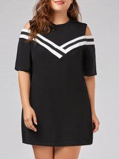 Plus Size Stripe Panel Cold Shoulder T-shirt Dress - Black 5xl