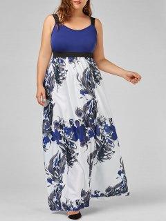 Floral A Line Plus Size Maxi Prom Dress - Blue 2xl