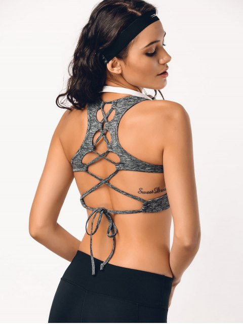 outfit Back Lace Up Space Dyed Sporty Bra - GRAY L Mobile