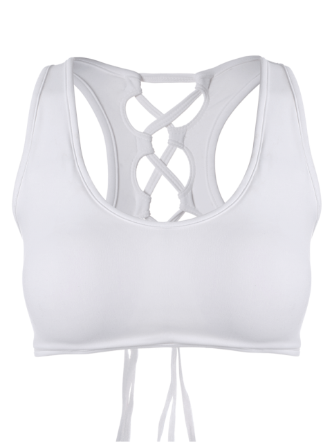 latest Back Lace Up Padded Sporty Bra - WHITE M Mobile