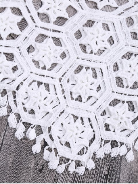 unique Tube Laser Cut Crochet Cover Up Top - WHITE ONE SIZE Mobile
