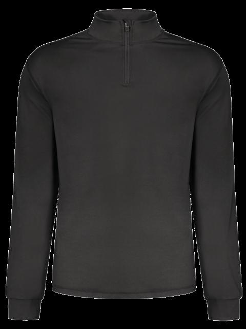 women Stand Collar Long Sleeve Half Zip Top - BLACK M Mobile