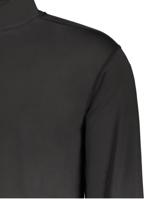 women's Stand Collar Long Sleeve Half Zip Top - BLACK L Mobile
