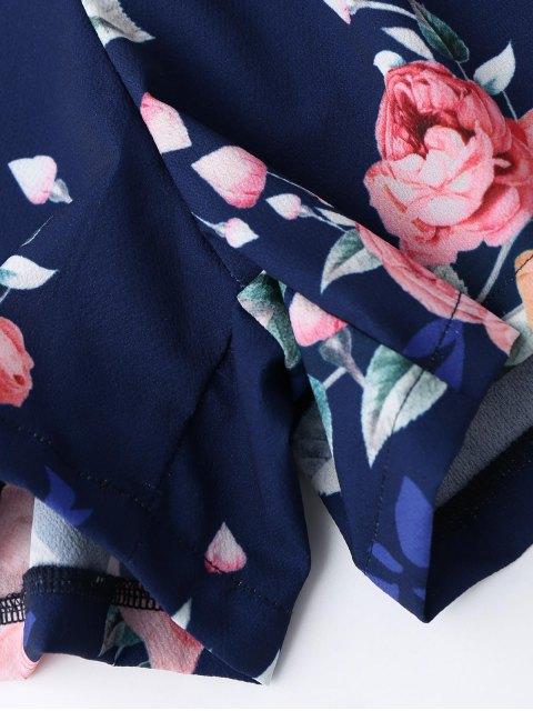 affordable Criss Cross Cami Floral Romper - PURPLISH BLUE S Mobile