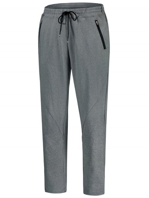 new Drawstring Sweatpants with Zip Pocket - GRAY L Mobile