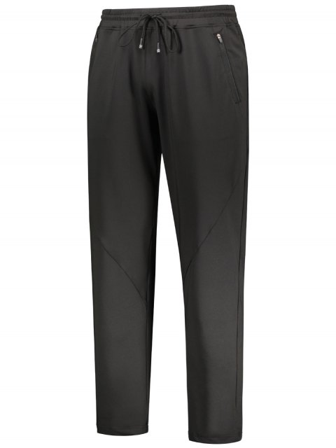 outfits Zipper Pocket Drawstring Sweatpants - BLACK M Mobile