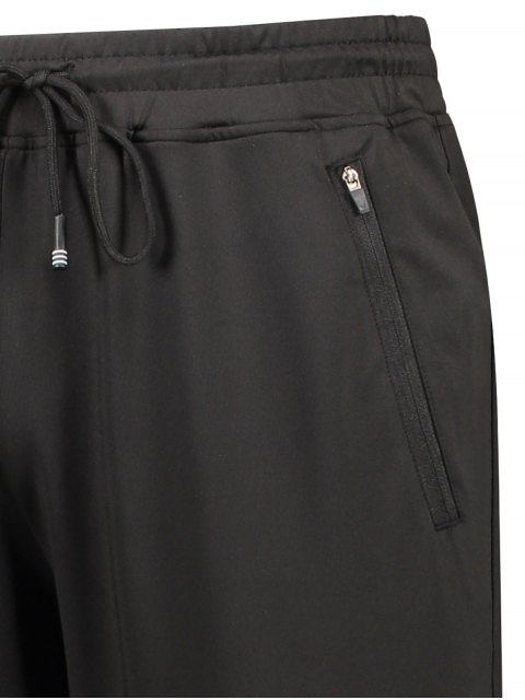 shop Zipper Pocket Drawstring Sweatpants - BLACK L Mobile