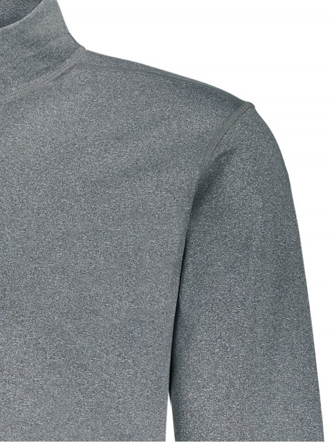 affordable Stand Collar Half Zip Heathered Top - GRAY L Mobile