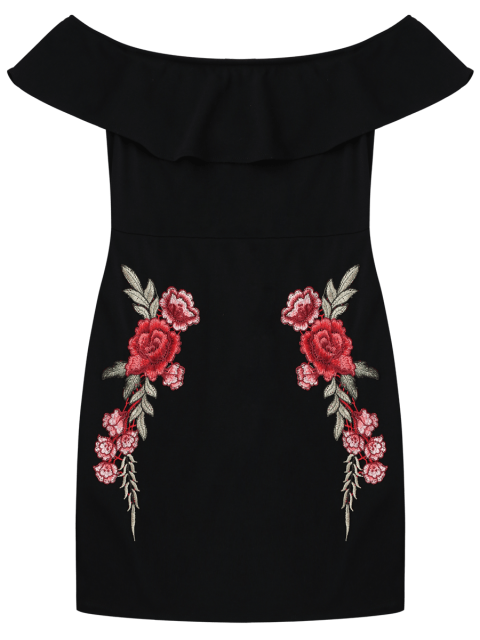 buy Embroidered Ruffles Off Shoulder Bodycon Dress - BLACK S Mobile