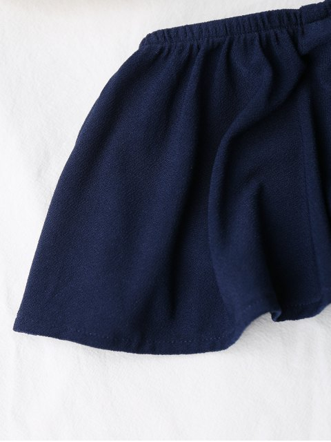 new Sleeveless Ruffles Off Shoulder Bodysuit - PURPLISH BLUE ONE SIZE Mobile
