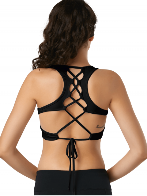 fashion Scoop Cutout Lace Up Padded Activewear Bra - BLACK L Mobile