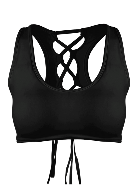 fancy Scoop Cutout Lace Up Padded Activewear Bra - BLACK S Mobile