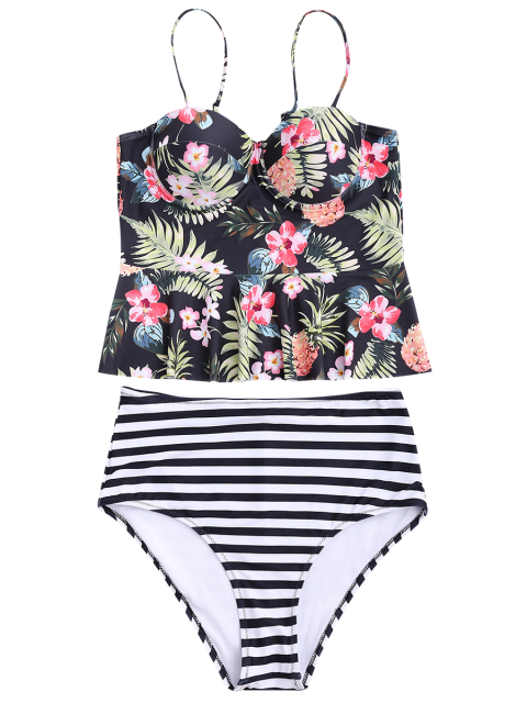 outfits Striped Floral Ruffles High Waisted Tankini - STRIPE L Mobile