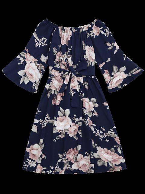buy Off The Shoulder Floral Print Belted Dress - PURPLISH BLUE XL Mobile