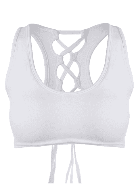 trendy Back Lace Up Padded Sporty Bra - WHITE S Mobile