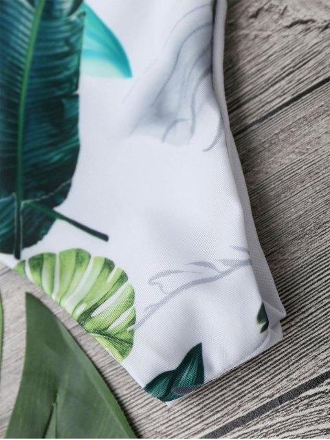 best Halter Tropical Leaf Print Bikini - FLORAL L Mobile