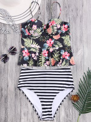 Striped Floral Ruffles High Waisted Tankini