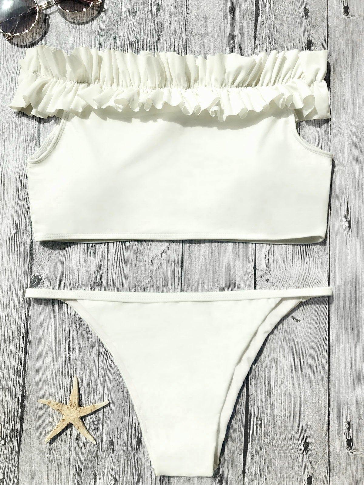 Off The Shoulder Frilled Bikini Set 215422001