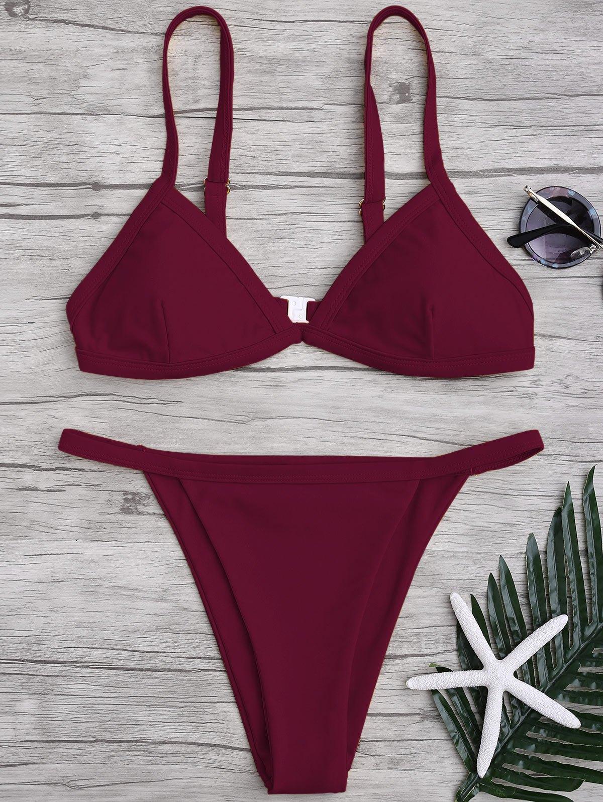 Solid Color Spaghetti Straps Low Waisted Bikini Set от Zaful.com INT