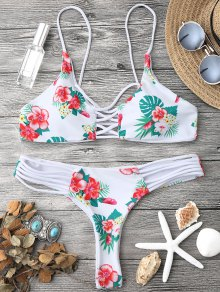 Floral Lattice Strappy Bikini Set - White S