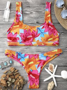 Scoop Neck Sporty Bralette Bikini Set - Multicolor M