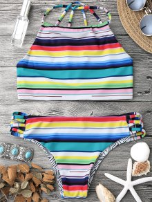 High Neck Multi Striped Strappy Bikini Set