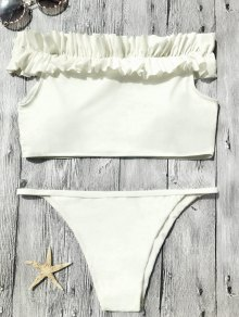 Off The Shoulder Frilled Bikini Set - Off-white M