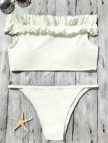 Off The Shoulder Frilled Bikini Set - Blancuzco S