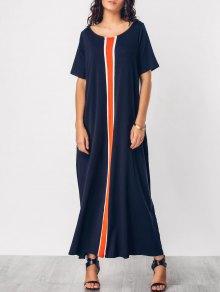 Color Block Knitting Panel Maxi Dress - Purplish Blue M