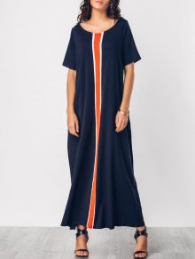 Color Block Knitting Panel Maxi Dress