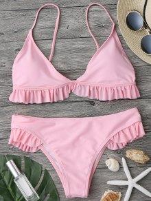 Traje De Bikini Con Escote Pico Con Relleno Con Volantes - Rosa L