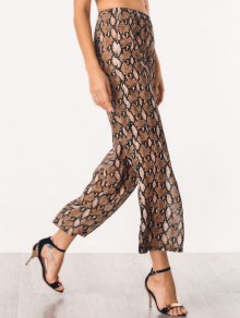 Chiffon Snake Graphic Wide Leg Pants - Brown M