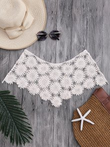 Tube Sun Flower Crochet Cover Up Top - Off-white