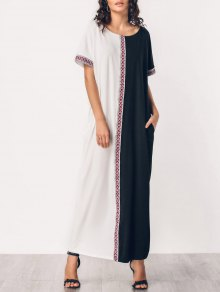 Embroidered Panel Two Tone Maxi Dress - White And Black L