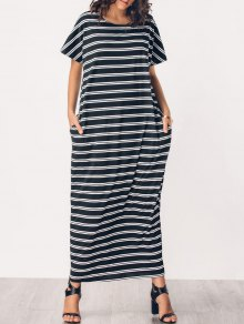 Middle Eest Striped Casual Maxi Dress