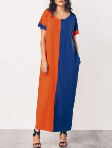 Middle East Casual Two Tone Maxi Dress