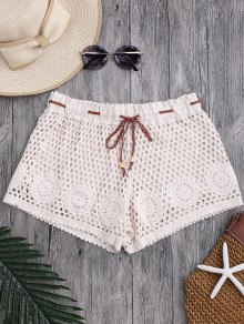 Laser Cut Drawstring Crochet Cover Up Shorts