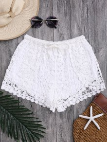 Drawstring Flower Crochet Cover Up Shorts - White