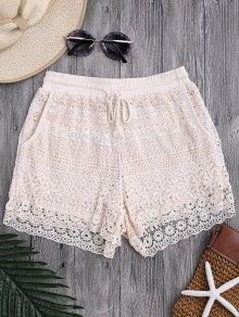 Bolsillos Forrados Con Cordón Crochet Cover Up Shorts - Blancuzco