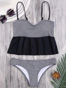 Cami Striped Ruffles Peplum Tankini