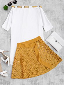 Asymmetric Dress And Lace Wrap Skirt Set - Yellow L