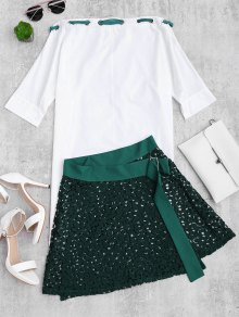 Asymmetric Dress and Lace Wrap Skirt Set