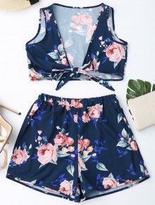 Knot Hem Floral Crop Top And Shorts - Purplish Blue M