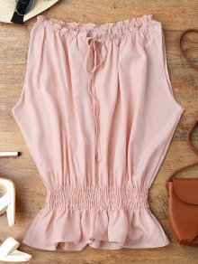 Batwing Smocked Ruffles Top - Pink 2xl