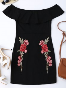 Embroidered Ruffles Off Shoulder Bodycon Dress