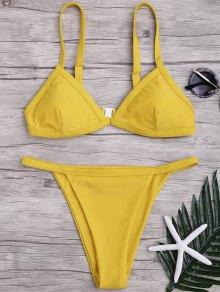 Solid Color Spaghetti Straps Low Waisted Bikini Set - Yellow M