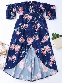 Vestido Floral Fuera Del Hombro Con Faldas Altas Bajas - Azul Purpúreo Xl