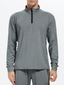 Stand Collar Half Zip Heathered Sweatshirt